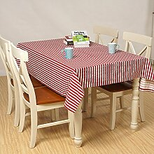 X&L Multicolor Striped Cotton Tischdecke Tischdecke Tetabellentuch Tischdecke Für Party Haushalt Picknick , red , 140*140