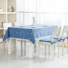 X&L Pastoral Dot Stickerei Tischdecke für die Party-Hotel zu Hause Picknick Bankett , blue , 140*140cm