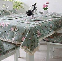 X&L Pastoral Europäische Baumwollspitze Printed Tischdecke Kaffeetischdecke Tischdecke für Zuhause-Party-Restaurant , 140*180cm
