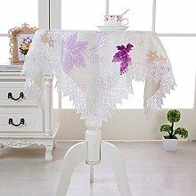 X&L Pastoral Wasserlösliche Tischdecke Staubtuch Couchtisch Tuch Mehrzweckdeckstoff für Zuhause Hotelrestaurant Party , purple , 150*150
