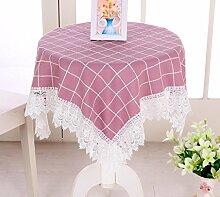 X&L Plaid Spitze Staubschutz Tischdecke Couchtisch Tuch Mehrzweckdeckstoff für Zuhause Hotelrestaurant Party , pink , 60cm*60cm