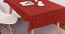 X&L Red karierten Tischdecke Hotel Hochzeit Gartentischdecke Stützkissen Kissen Staubtuch Tischdecke Tuch , 140*200cm