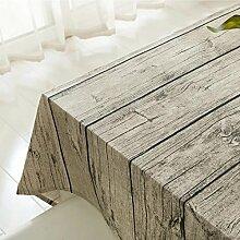 X&L Tuch aus Baumwolle und Leinen Tischdecken Heimtextilien echte Vintage Holzmaserung bedeckt Handtuch Couchtisch Stoff Tischdecke , vintage wood , 140*140cm