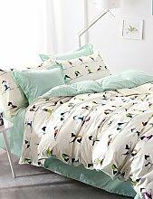 X&L Yoga Mädchen / Jungen für Doppelbettbezüge aus 100% Baumwolle Tröster Fall Blatt Kissen- 4pcs Bettsätze gesetzte Bettwäsche , queen-green , queen-green