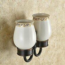 XAH@ Premium-Dark Bronze Bad-Accessoires Doppel Edelstahl Basis Glas Wandregale, die Bad-Accessoires zu waschen