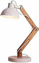 XAJGW Holzschwenkarm-Schreibtischlampe,