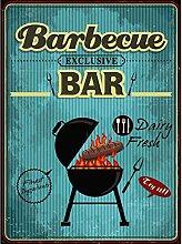 Xavax Schild Barbecue (26 x 35 cm, Vintage Blechschild mit Spruch, Grill Dekoschild) türkis
