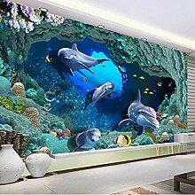 Xbwy 3D Delphin Unterwasser Para Volle Wandbild