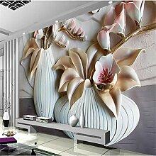 Xbwy 3D Phalaenopsis Relief Tapete Für Wohnzimmer