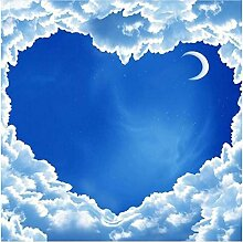 Xbwy Fototapete Herzförmige Blauer Himmel Weiße