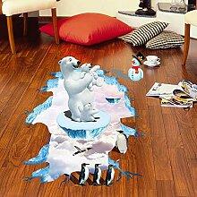 Xcao Kreative 3D Eisbär Pinguin Boden Aufkleber