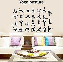 XCSJX Kreative Yoga Pose Wandkunst Aufkleber
