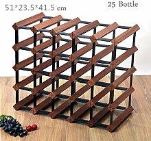 xczdf Weinregal aus Holz mit 25 Flaschen, Halter