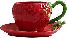 XDYNJYNL Porzellan Rote Kaffeetasse und Untertasse