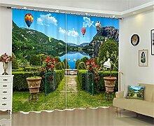 XFKL 100% Polyester Blackout Vorhänge, 3D Garten Grün Blumentor Great Lakes Fenster Jalousien Blockieren Sie 90% Sonnenlicht / Hitze Blackout, Anti-UV, Lärm zu verhindern, Strahlung zu verhindern, Schlafzimmer Wohnzimmer Dekor , 80*63 inch