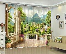 XFKL Moderne Fenster Vorhänge Dekoration Mode Stoffe für Vorhänge Wohnzimmer 3D frische Blumen Fenster Behandlung Balkon , 142*98 inch