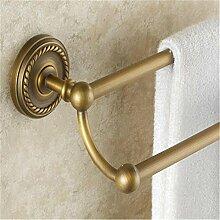 XG Bad-Accessoires Handtuchhalter antiken europäischen Stil geschnitzt Allkupfer Handtuchhalter Doppel bar Handtuchhalter