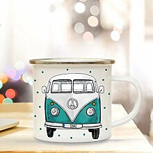 XG Emaille Becher Camping Tasse mit Bus Bulli