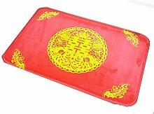 XG Verheiratet Yoshinobu einfaches Wort Flanell Rechteck roten Teppich Schlafzimmer Badezimmer zu Hause Rutschmatte , 1 , 60*90cm