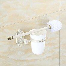 XGMSD Toilettenbürstengarnitur Edelstahl WC Bad-Accessoires Keramik Klobürste Gold Weiß