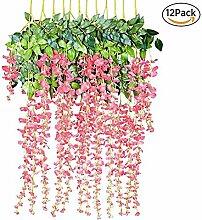 XGZ Künstliche Blumen, 12/lot 9,1cm Fake Wisteria Kletterpflanze zum Aufhängen Seide Simulation Blumen Saite für Hochzeit Party Hause Garten Wand Dekoration wassermelone