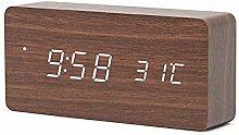 XHCP Led Digital Wecker Holz Drahtlose Lade