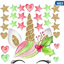 XHKPF Bunte Blume Tier Einhorn Wandaufkleber 3D