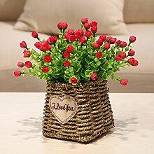 XHOPOS HOME Künstliche Blumen einfach modern Geflochtene Körbe Blumen Bouquet Hochzeit Dekorationen Zubehör fake Blumen