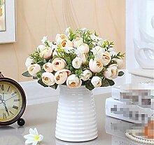 XHOPOS HOME Künstliche Blumen einfach modern Weiß Keramik Vasen Bouquet Hochzeit Dekorationen Zubehör fake Blumen