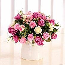 XHOPOS HOME Künstliche Blumen europäischen Stil Rosa Pink Bouquet Hochzeit Dekorationen Zubehör fake Blumen