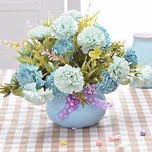 XHOPOS HOME Künstliche Pflanzen Künstliche Blumen Blaue Nelken Blau Porzellan Vasen Blumenarrangements Home Zimmer Büro dekoratives Zubehör