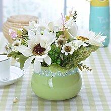XHOPOS HOME Künstliche Pflanzen Künstliche Blumen Chrysantheme Weiß Grün Keramik Vasen Blumenarrangements Home Zimmer Büro dekoratives Zubehör