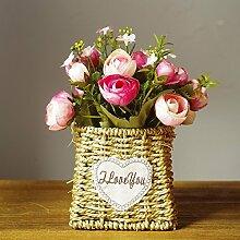 XHOPOS HOME Künstliche Pflanzen Künstliche Blumen geflochtene Blume Rosa Blumenarrangements Home Zimmer Büro dekoratives Zubehör