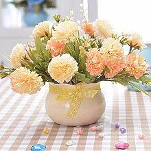 XHOPOS HOME Künstliche Pflanzen Künstliche Blumen Gelb Nelken Gelb Keramik Vasen Blumenarrangements Home Zimmer Büro dekoratives Zubehör
