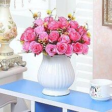 XHOPOS HOME Künstliche Pflanzen Künstliche Blumen getrocknete Blumen Blumensträuße Topfpflanzen Rosen Floristik Home Zimmer Büro dekoratives Zubehör