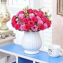 XHOPOS HOME Künstliche Pflanzen Künstliche Blumen getrocknete Blumen Blumensträuße Topfpflanzen rote Rose Blumenschmuck Home Zimmer Büro dekoratives Zubehör