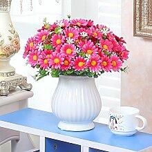 XHOPOS HOME Künstliche Pflanzen Künstliche Blumen getrocknete Blumen Blumensträuße Topfpflanzen rote Chrysantheme Blumenarrangements Home Zimmer Büro dekoratives Zubehör