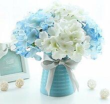 XHOPOS HOME Künstliche Pflanzen Künstliche Blumen Hortensie Outdoor Hochzeiten Blau Blumenarrangements Home Zimmer Büro dekoratives Zubehör