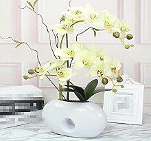 XHOPOS HOME Künstliche Pflanzen Künstliche Blumen Orchideen Keramikvasen Wohnzimmer Blumenarrangements Home Zimmer Büro dekoratives Zubehör