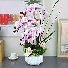 XHOPOS HOME Künstliche Pflanzen Künstliche Blumen Orchideen Topfpflanzen Wohnzimmer Lila Blumenarrangements Home Zimmer Büro dekoratives Zubehör