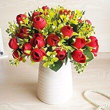 XHOPOS HOME Künstliche Pflanzen Künstliche Blumen Porzellan Vase Rot Blumenarrangements Home Zimmer Büro dekoratives Zubehör