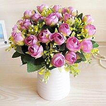 XHOPOS HOME Künstliche Pflanzen Künstliche Blumen Porzellan Vase Lila Blumenarrangements Home Zimmer Büro dekoratives Zubehör