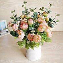 XHOPOS HOME Künstliche Pflanzen Künstliche Blumen Porzellan Vase Rosa Blumenarrangements Home Zimmer Büro dekoratives Zubehör