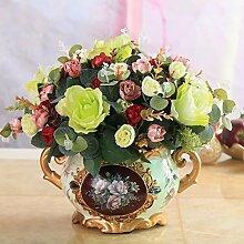 XHOPOS HOME Künstliche Pflanzen Künstliche Blumen Rose Wohnzimmer Indoor Blumenschmuck Home Zimmer Büro dekoratives Zubehör