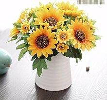 XHOPOS HOME Künstliche Pflanzen Künstliche Blumen Sonnenblume Topfpflanzen Keramik Vase Blumenschmuck Home Zimmer Büro dekoratives Zubehör