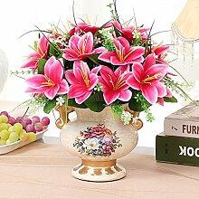 XHOPOS HOME Künstliche Pflanzen Künstliche Blumen Topfpflanzen Keramik Vasen Rot Blumenarrangements Home Zimmer Büro dekoratives Zubehör