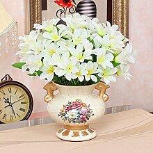 XHOPOS HOME Künstliche Pflanzen Künstliche Blumen Topfpflanzen Keramik Vasen Weiß Blumenarrangements Home Zimmer Büro dekoratives Zubehör