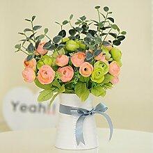 XHOPOS HOME Künstliche Pflanzen Künstliche Blumen Topfpflanzen Wohnzimmer Rosa Grün Blumenarrangements Home Zimmer Büro dekoratives Zubehör