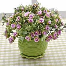 XHOPOS HOME Künstliche Pflanzen Künstliche Blumen Topfpflanzen Wohnzimmer Lila Rose Blumenarrangements Home Zimmer Büro dekoratives Zubehör