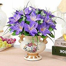 XHOPOS HOME Künstliche Pflanzen Künstliche Blumen Topfpflanzen Keramik Vasen Lila Blumenarrangements Home Zimmer Büro dekoratives Zubehör